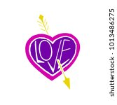 pierced by an arrow heart... | Shutterstock .eps vector #1013486275