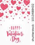 glitter red hearts vertical... | Shutterstock .eps vector #1013488432