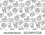 seamless outline pattern with... | Shutterstock .eps vector #1013491528