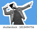 crazy hipster guy emotions.... | Shutterstock . vector #1013494756
