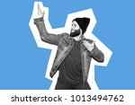 crazy hipster guy emotions.... | Shutterstock . vector #1013494762