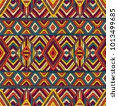 embroidered seamless geometric... | Shutterstock .eps vector #1013499685