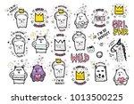 big set of vector cute doodles... | Shutterstock .eps vector #1013500225