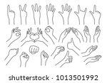 set of realistic gestures hand... | Shutterstock .eps vector #1013501992