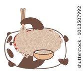 hungry kawaii panda laying down ... | Shutterstock .eps vector #1013507992