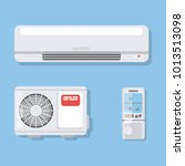 air conditioner set. fan and... | Shutterstock . vector #1013513098