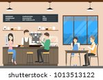 people at coffee shop. people...   Shutterstock . vector #1013513122