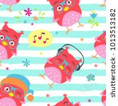 Stock vector vector cartoon style striped owl punchy pastel seamless pattern 1013513182