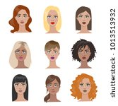 female hairstyles set. all... | Shutterstock . vector #1013513932