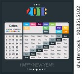 colorful year 2018 calendar... | Shutterstock .eps vector #1013515102