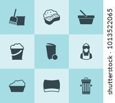 set of 9 bucket filled icons... | Shutterstock .eps vector #1013522065