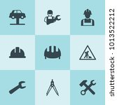 set of 9 engineer filled icons... | Shutterstock .eps vector #1013522212
