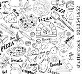 pizza seamless pattern hand... | Shutterstock .eps vector #1013541652