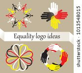 vector set of four logos with... | Shutterstock .eps vector #1013548015
