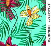 vector palm tree and flower... | Shutterstock .eps vector #1013549605