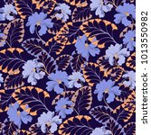 blue flower seamless vector... | Shutterstock .eps vector #1013550982