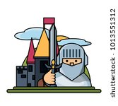 medieval castle icon image | Shutterstock .eps vector #1013551312