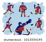 a set of ice hockey players in... | Shutterstock .eps vector #1013554195