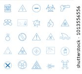 warning and hazard icons set... | Shutterstock .eps vector #1013556556
