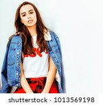 young pretty stylish hipster... | Shutterstock . vector #1013569198