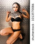 young sexy woman with leopard...   Shutterstock . vector #1013570086