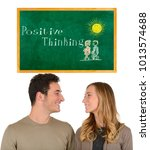 young couple and positive... | Shutterstock . vector #1013574688