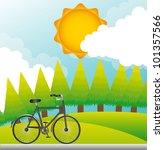bike over beautiful landscape ...   Shutterstock .eps vector #101357566