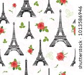 vector black red eifel tower...