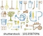 set of gardening tools or items.... | Shutterstock .eps vector #1013587096