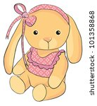 nice toy rabbit sits with a bow ...   Shutterstock .eps vector #101358868