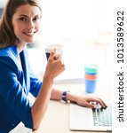 attractive smiling business...   Shutterstock . vector #1013589622