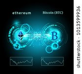 bitcoin and ethereum symbol... | Shutterstock .eps vector #1013599936