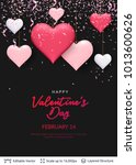 pink 3d hearts and greeting... | Shutterstock .eps vector #1013600626