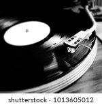 close up of a vinyl record lp... | Shutterstock . vector #1013605012