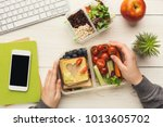 healthy snack at office... | Shutterstock . vector #1013605702