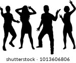 dancing people silhouettes.... | Shutterstock .eps vector #1013606806