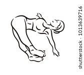 yoga pose illustration on white ...   Shutterstock .eps vector #1013639716