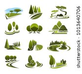 green landscape design icons... | Shutterstock .eps vector #1013640706