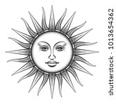 engraved sun. antique sun face... | Shutterstock .eps vector #1013654362