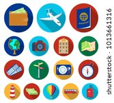 rest and travel flat icons in... | Shutterstock . vector #1013661316