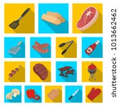 barbecue and equipment flat... | Shutterstock . vector #1013662462