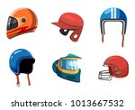 Sport Helmet Icon Set. Cartoon...