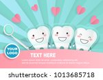 cute cartoon tooth take mirror... | Shutterstock .eps vector #1013685718