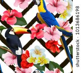 seamless summer tropical... | Shutterstock .eps vector #1013686198