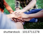 close up join hands group... | Shutterstock . vector #1013711278