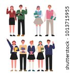 high school students boy and... | Shutterstock .eps vector #1013715955