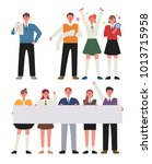 shiny youth. students wearing... | Shutterstock .eps vector #1013715958
