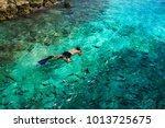 snorkeling in clear blue water...   Shutterstock . vector #1013725675