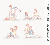 yoga time with mom and daughter.... | Shutterstock .eps vector #1013725882