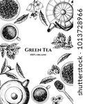vector frame with green tea. ... | Shutterstock .eps vector #1013728966